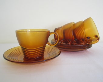 RETRO French DURALEX cup saucer - set of 4, amber glass