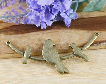 5pcs Antique Bronze Three Birds on Tree Branch Charm Pendants Links 32x72mm B103-5