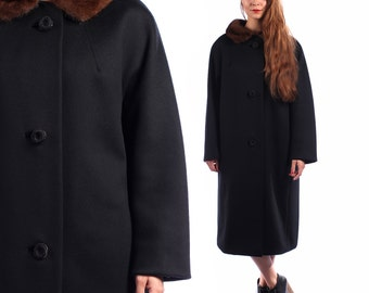 SALE Black 60's Coat . Brown MINK Fur Collar  WOOL Swing Trapeze Dress Coat Cap 1960s Winter Luxurious Coat . Large