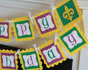 Happy Birthday Yellow Purple Green Mardi Gras Fleur de Lis Theme Banner - Ask About Our Party Pack Sale