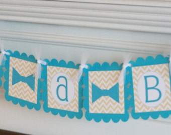 "Mustache Bash Bowtie Baby Shower Chevron ""Little Man"" or ""It's a Boy"" Bowtie Tie Banner Yellow Chevron & Turquoise - PARTY PACK SPECIALS"