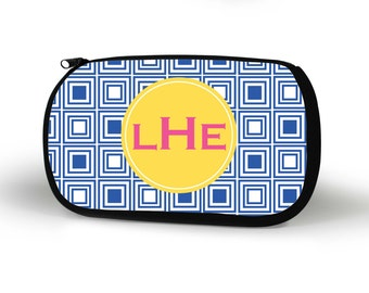 Squares Cosmetic Case, Personalized Cosmetic Bag, Custom, Bridesmaid Gift, Custom Gift, Tech bag, Pencil Case