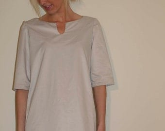 Summer Tunic Dress Oyster White with  Short Sleeves and Neckline Opening