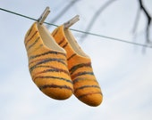 Felted women slippers  wool shoes   house shoes  yellow  (size EU39- US 8-8,5)
