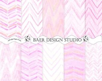 50% off:Pink Digital Paper, Digital Paper Watercolor, Bohemian Digital Paper, PInk Chevron Digital Paper, Pink Distressed Digital Paper