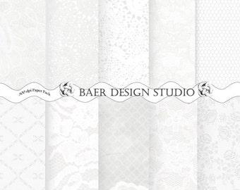 White Digital Paper, Wedding Digital Paper, Digital Wedding Invitation, White Lace Digital Paper, 5x7 digital paper