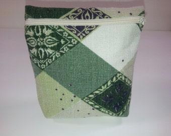 Zippered Bag // Medium // Vintage Cotton Barkcloth