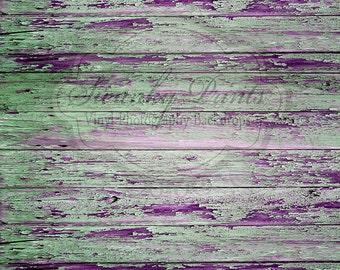 8ft x 6ft Vinyl Photography Backdrop / Purple Green Peeling Wood