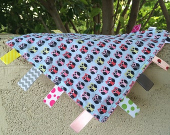 Tiny Owls Tag Blanket with your choice of Minky // In Stock, READY TO SHIP
