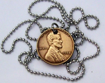 Wheat penny vintage coin pendant necklace made of a genuine U.S. wheat penny from the 1950's on a stainless steel bead chain.