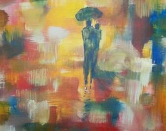 Original 20x20 A Walk the Rain Abstract Canvas painting