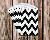 BLACK CHEVRON Stripe-24Treat Bags-goody bags- favor bags-Valentines day-pirate-Monster High-packaging-24 count