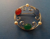 Scarab and Sterling Silver Pin