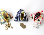 Mini Pyramid pouch / Mini Triangle Bag / Coin Purse / Doggy Bag / Earphone bag / Jewelry Bag / pacifier bag