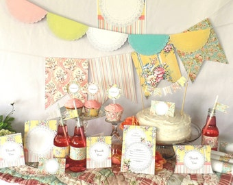 Shabby Chic Vintage Printable Party Pack Kit Wedding Birthday Instant Download