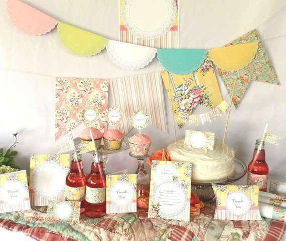 Shabby Chic Vintage Printable Party Kit Wedding Birthday Instant Download