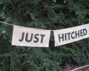 Just Hitched Banner, Burlap Banner, Burlap Wedding, Rustic Wedding, Just Hitched Sign, Rustic Burlap, Just Married Banner