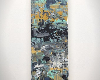 Abstract 1165 |  Original Fine Art by Crystal Henson | 4 x 12 Highly Textured Abstract Painting in Mustard, Black, Mint, Grey, and White