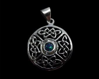 Stainless Steel Celtic Round 4 Knot Pendant with a Opal Center   - Free Shipping Worldwide