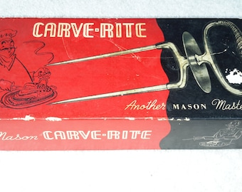 1950's  Mason Carve-Rite turkey holder carving fork / tines style # 901C in original box
