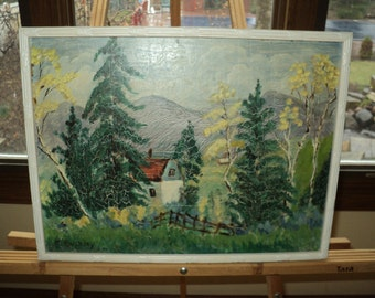 Vintage Folk Art Style Landscape Scene of a Cottage in the Woods with a wonderful crackle finish and Signed by The Artist