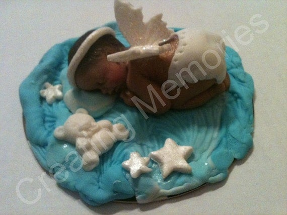 Edible Cake Images Halo : BABY SHOWER Christening Baby Angel Edible Cake Topper Wings