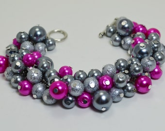Pearl Bracelet, Gray and Bright Orchid Bracelet, Pearl Bridal Jewelry, Hot Pink and Gray Bracelet, Chunky Bracelet, Bridesmaids Jewelry