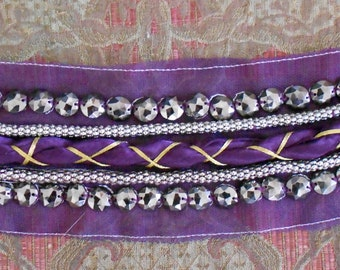 Purple and Gold Braided Beaded Appliques