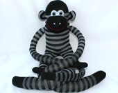 Sock Monkey Doll / Gray and Black Striped / 24 inches