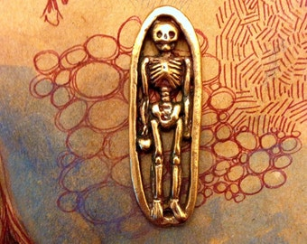 Bronze Skeleton and Heart Pendant Link