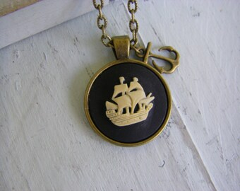 Pirate Ship Necklace, anchor necklace, nautical jewelry, cameo, adventure jewelry