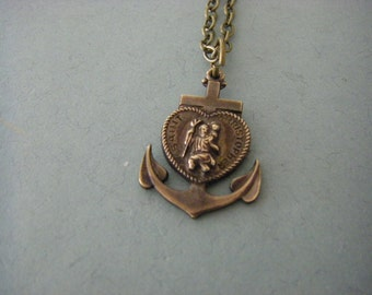 Vintage St. Christopher Medal necklace anchor necklace brass Saint Christopher patron saint of travel