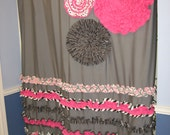Shower Curtain Custom Made Designer Fabric Ruffles and Flowers Black, White, Gray, Hot Pink, Stripes, Dots, Damask, Chevron, Birds