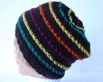 Hand knit beanie, knit hat, striped brown beanie, striped brown hat, brown striped hat, brown striped beanie, wool hat, wool beanie