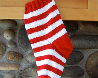 Red and white striped stocking, hand knitted stocking, red Christmas stocking, striped red stocking, personalized stocking, knit Christmas
