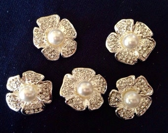 SALE 5 Rhinestone with Pearls Buttons - Flower Buttons - Metal - 25mm - Ships IMMEDIATELY from California - RB07