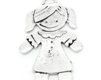"Silver Girl Charms ""For You"" Antique Tone - 54x35mm - 3pcs - Ships IMMEDIATELY from California - SC870"