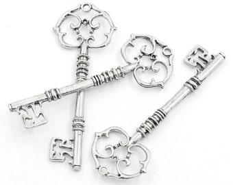 5 Silver Keys -  Pendants - Antique - LARGE - Skeleton Keys - 81x30mm - Ships IMMEDIATELY from California - SC948a