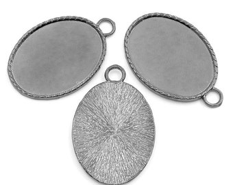 3 Gunmetal Pendants - Cabochon Frame Settings - Holds 40x30mm - 51x34mm - Ships IMMEDIATELY from California - SC951