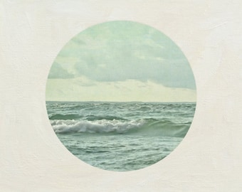 Lake House Decor 8x8, Modern Ocean Photograph, Sea Picture, Mint Green Artwork, Round Wall Art
