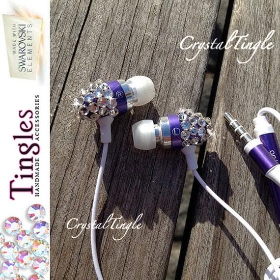 Sparkle Pink Blue Black Swarovski Crystal Earphone with Mic Headphone Earbuds for iPhone iPod iPad Any 3.5mm Plug