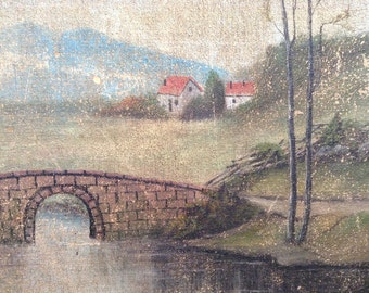 Antique landscape oil painting on canvas of water and bridge