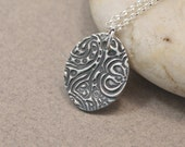 Fine Silver Necklace Handmade Precious Metal Clay Oval Swirl Necklace