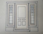1800's Original Watercolor Painting, Antique Stained Glass Art Rendering for Door and Windows