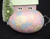 1930's German Easter Egg 5 Inch Ornament , Antique Pastel Candy Container with Flowers