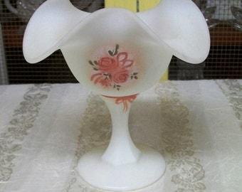Fenton Footed Compote, White Velvet, Handpainted with pink roses and ribbons, signed