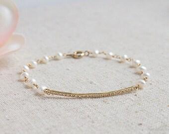 Delicate Pearl Bracelet, June Birthstone, Everyday Elegance