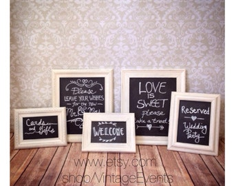 White FRAMED CHALKBOARD Set - Picture Frames - Chalk Ink Pen - Shabby Chic - wedding reception home sign