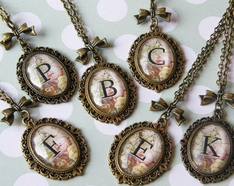 Pretty Vintage Inspired Alphabet Letter Cameo Necklace