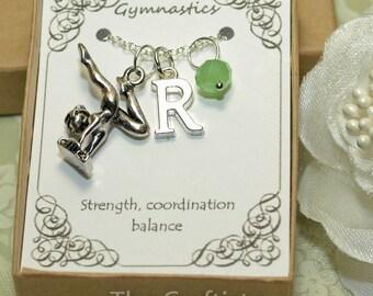 Personalized Gymnastics Necklace With Birthstone and Initial - GYM1 - Gymnast Charm - Gymnastics Pendant - Gymnast Necklace